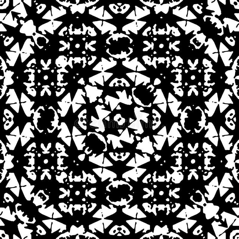 黑白伊斯兰教的几何无缝的样式 库存例证