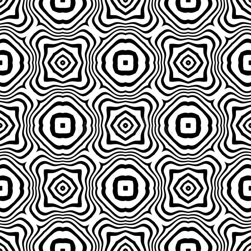 黑白传染媒介无缝的抽象的样式 抽象背景墙纸 库存例证
