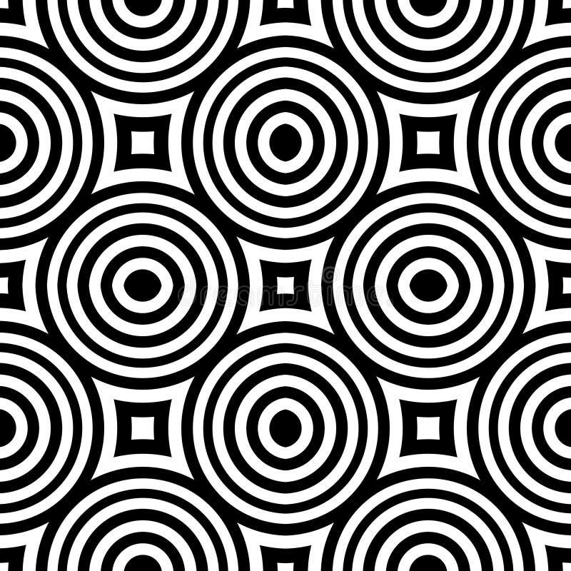 黑白传染媒介无缝的曲线的样式 抽象背景墙纸 也corel凹道例证向量 库存例证