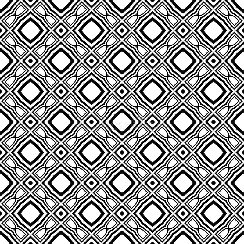 黑白传染媒介无缝的曲线的样式 抽象背景墙纸 也corel凹道例证向量 皇族释放例证