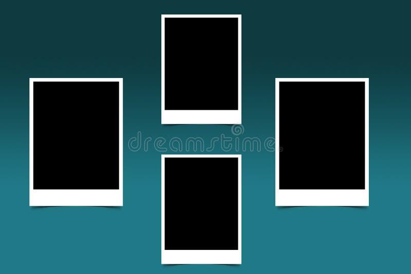 黑白偏正片照片四的框架 向量例证