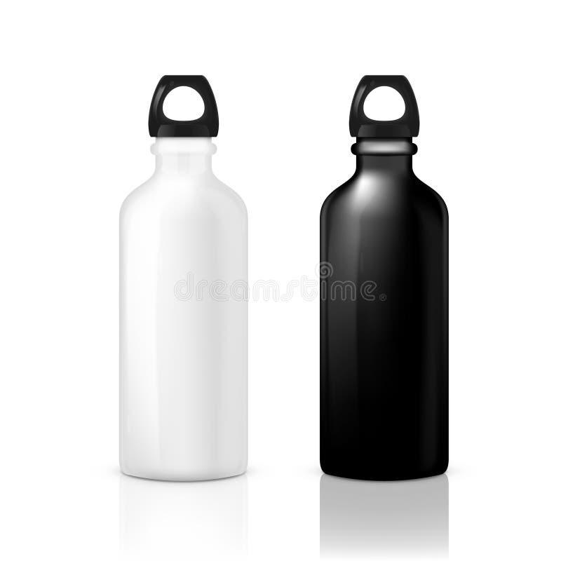 黑白光滑的金属水上运动瓶 库存例证