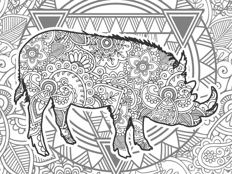 黑白公猪手拉的乱画 向量例证