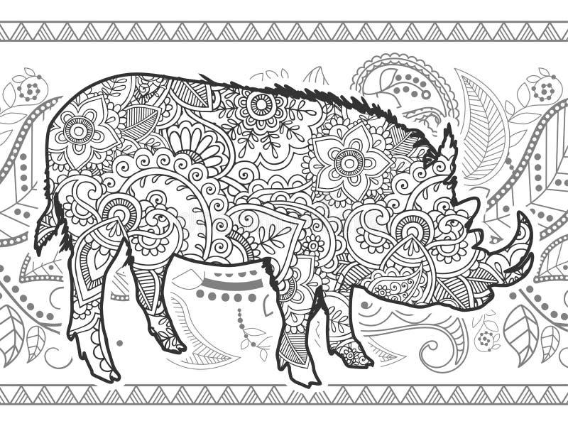 黑白公猪肉猪手拉的乱画 库存例证