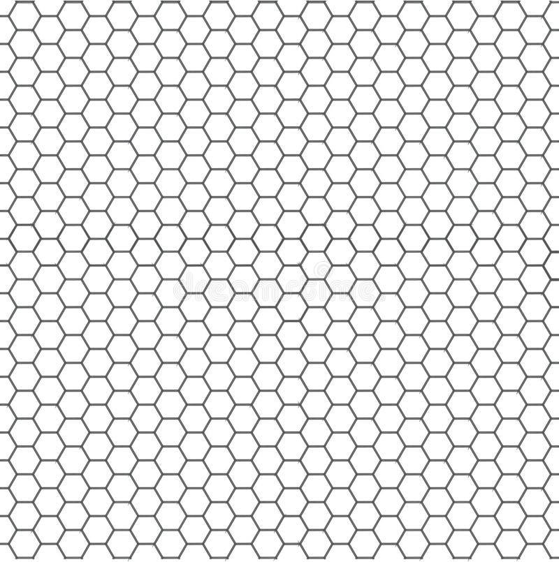 黑白六角形蜂窝无缝的样式 皇族释放例证