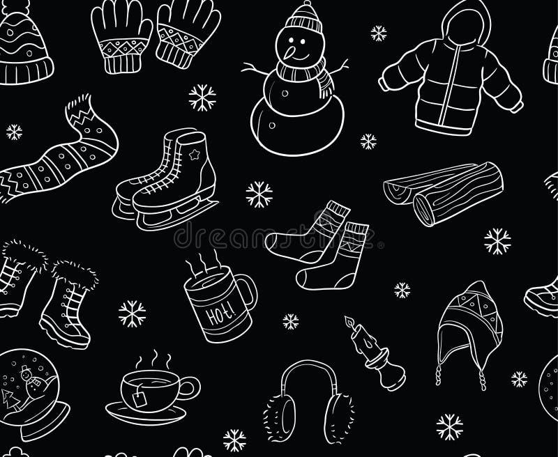 黑白冬天元素和对象无缝的样式 库存例证