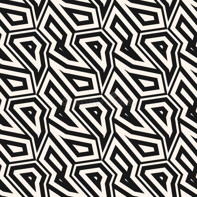 黑白几何无缝的样式 传染媒介摘要线性背景 皇族释放例证