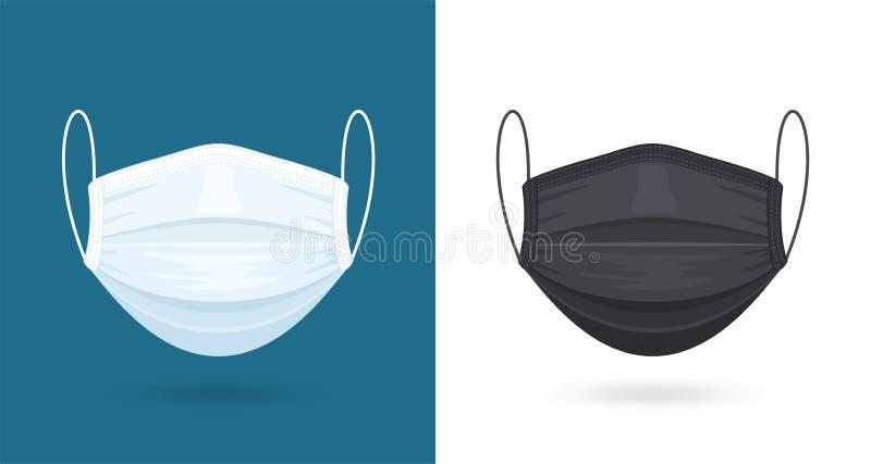 黑白医用或外科口罩 病毒防护 呼吸口罩 医疗保健概念 矢量 皇族释放例证
