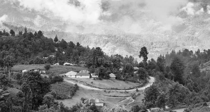 黑白危地马拉的风景 免版税库存照片