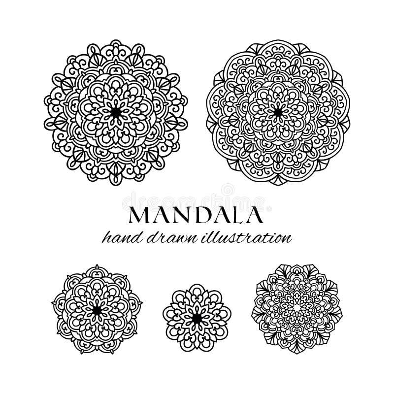 黑白反重音装饰种族圆的装饰品 库存例证