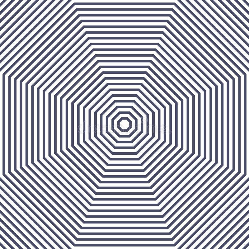 黑白同心八角形物元素 库存例证