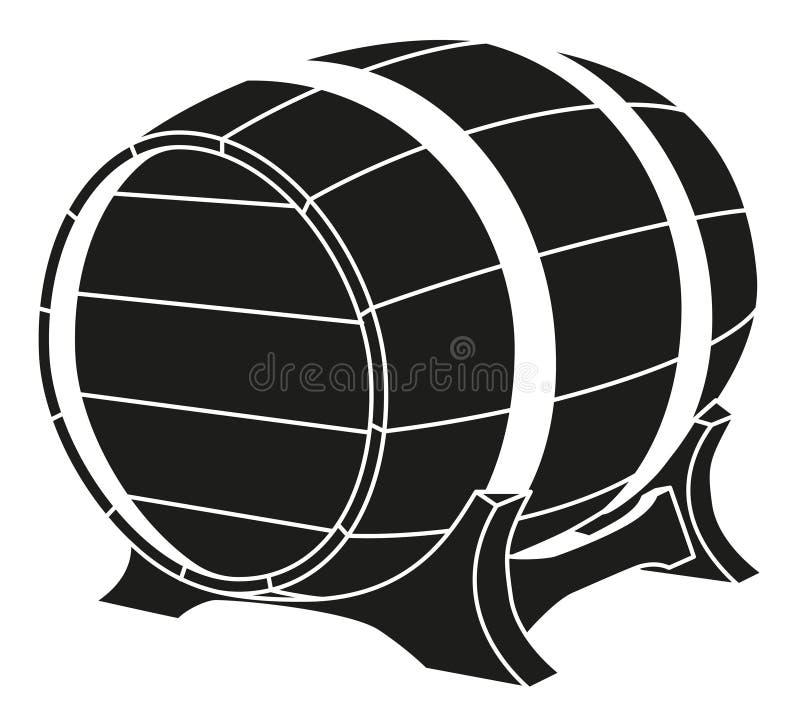 黑白啤酒桶剪影 向量例证