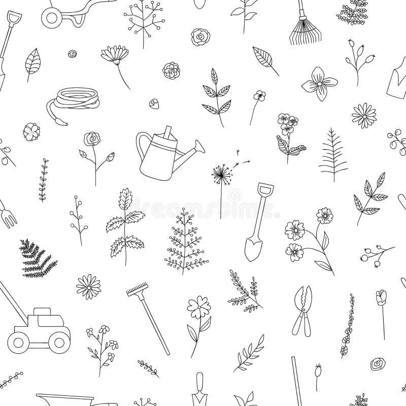 黑白园艺工具的传染媒介无缝的样式 库存例证