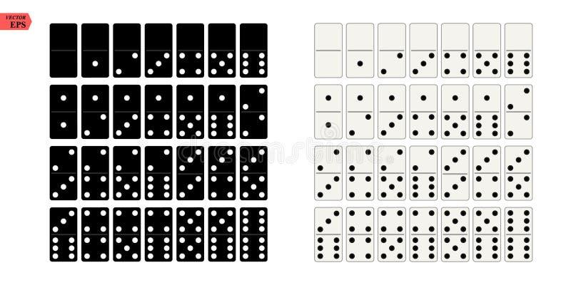 黑白在平的设计样式的多米诺全套 也corel凹道例证向量 皇族释放例证