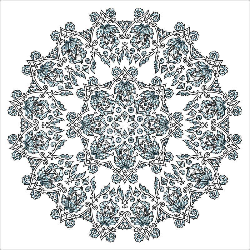 黑白在白色背景隔绝的彩图圆的元素传染媒介手拉的印度坛场 库存例证