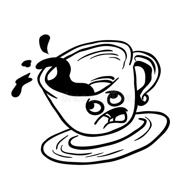 黑白害怕咖啡杯溢出 向量例证