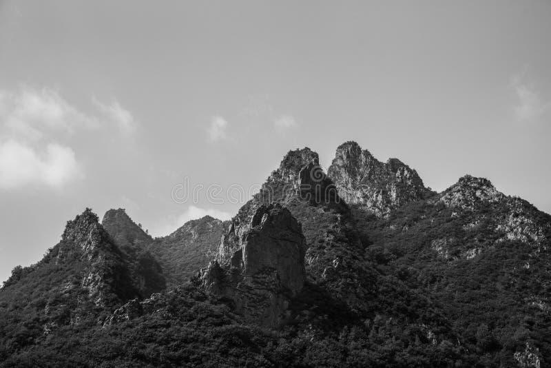 黑白小山顶的特写镜头 免版税库存照片