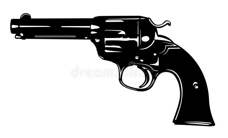 黑白小左轮手枪枪向量图形 库存例证