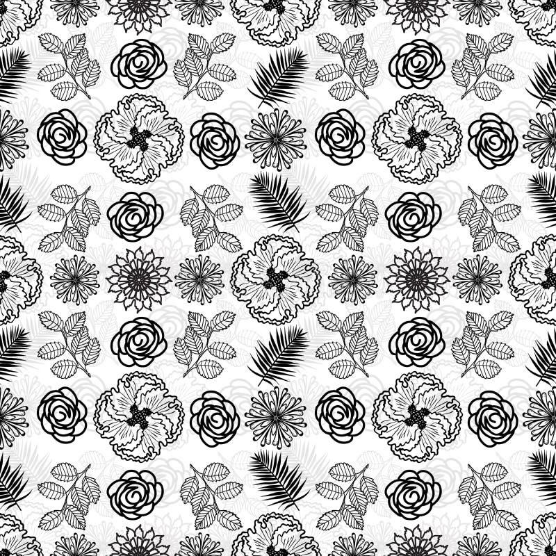黑白层状和织地不很细无缝的花卉样式瓦片 向量例证