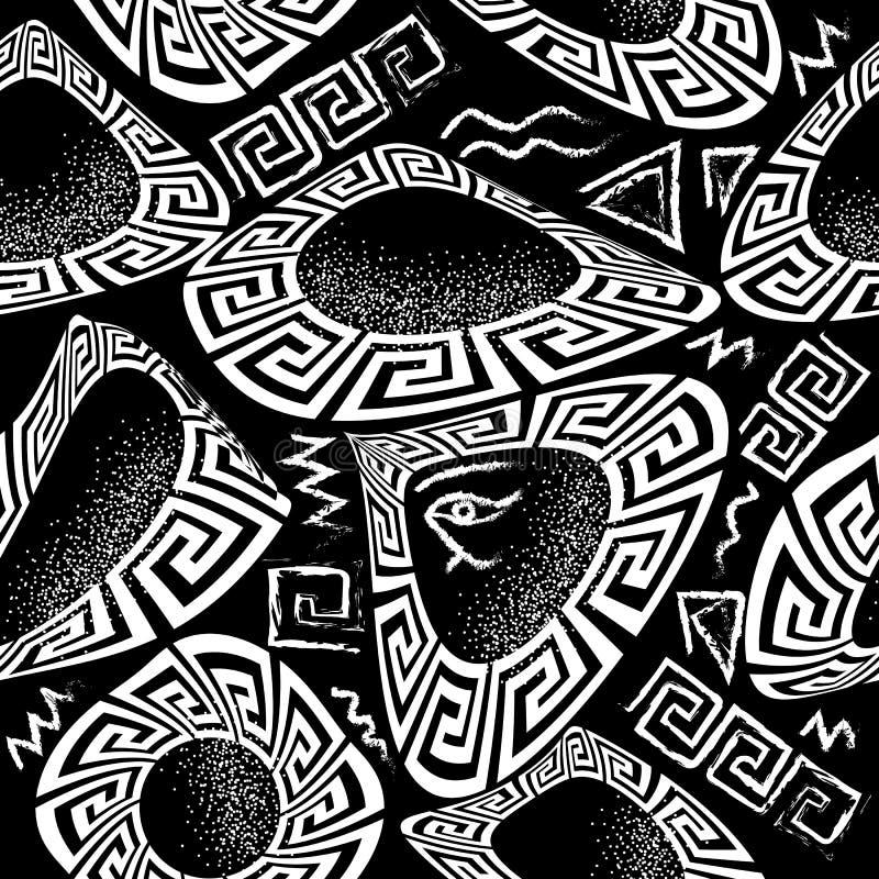 黑白希腊传染媒介无缝的样式 几何形状背景 白垩难看的东西乱画希腊关键河曲装饰与 向量例证