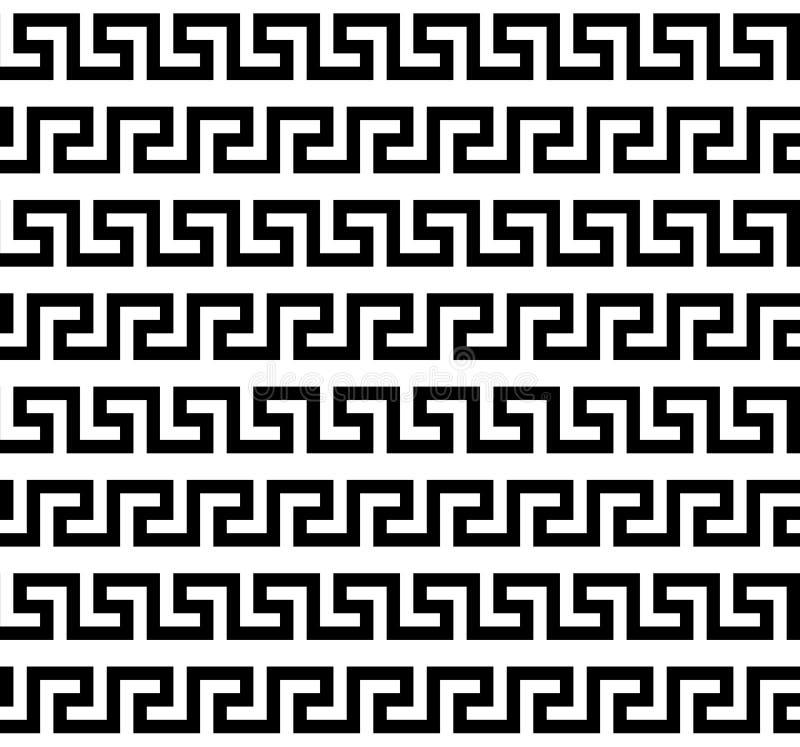 黑白希腊河曲无缝的样式,传染媒介模板 向量例证