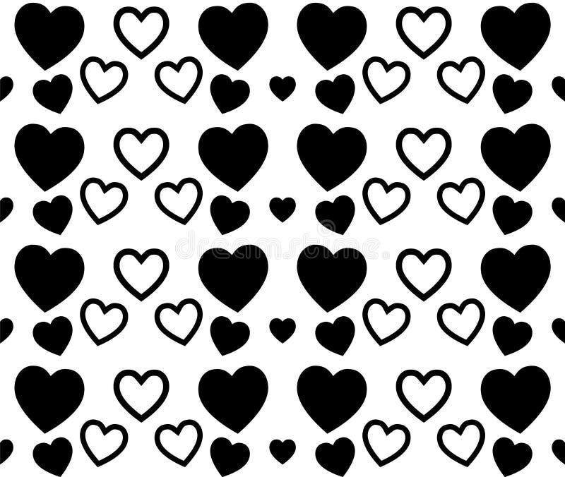 黑白心脏纹理为情人节 干净和可爱的背景设计 皇族释放例证