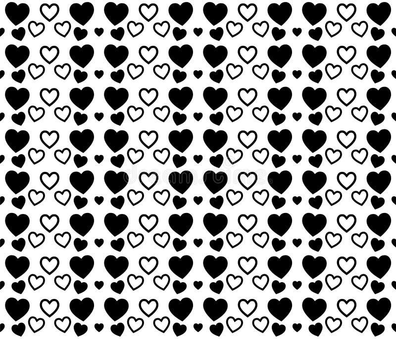 黑白心脏纹理为情人节 干净和可爱的背景设计 库存例证