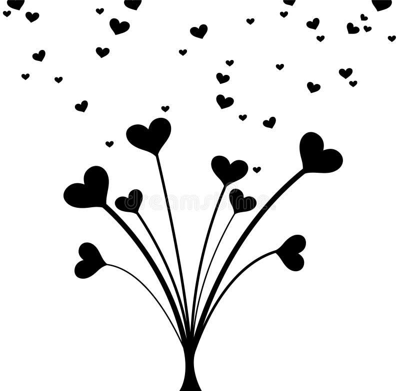 黑白心脏花束为情人节 卡片的干净和可爱的设计 皇族释放例证
