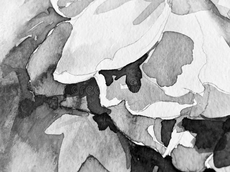 黑白手绘画水彩姿势 皇族释放例证