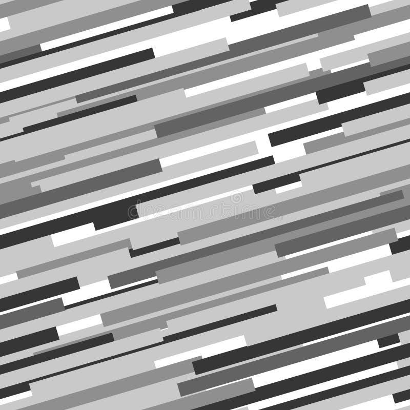 黑白抽象动态镶边无缝的样式,传染媒介 向量例证