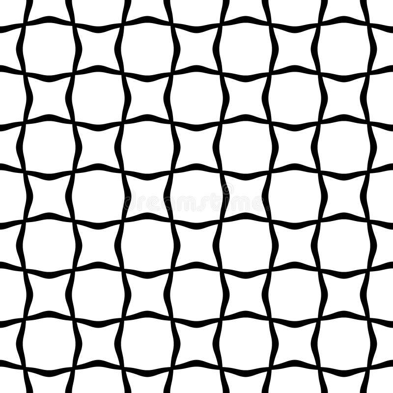 黑白抽象线波浪无缝的样式 与波浪,惊涛骇浪的线的纹理您的设计的 涨落不定,例证 库存例证
