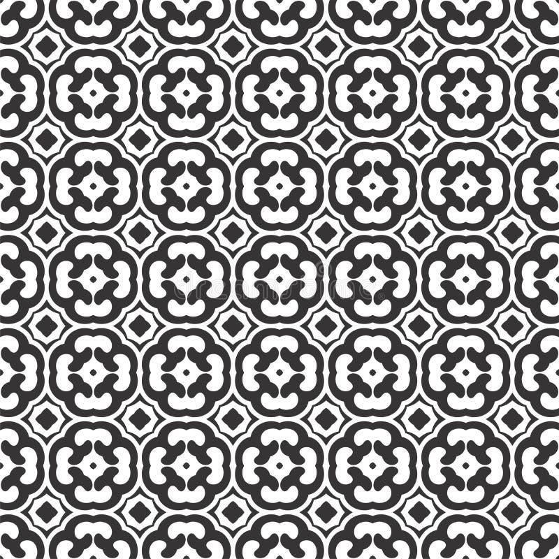 黑白抽象,无缝的样式被四片叶子三叶草设计, symmetricl跟随了 皇族释放例证