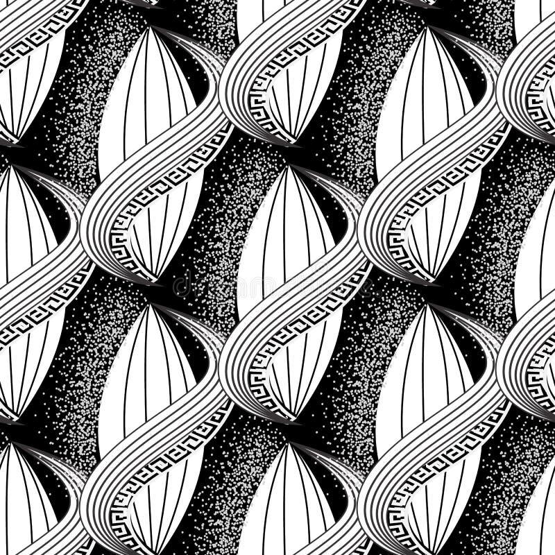 黑白摘要传染媒介希腊无缝的样式 现代装饰半音背景 重复单色花卉背景 皇族释放例证