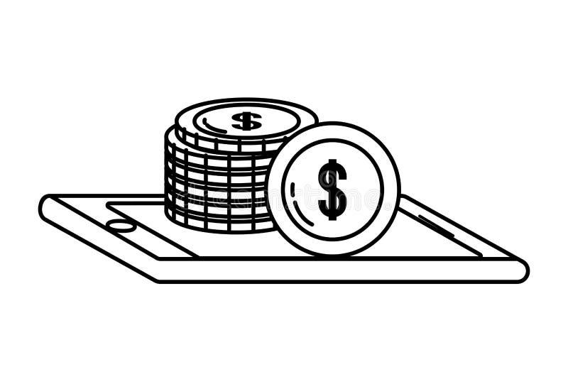 黑白数字银行业务网上工具的smatphone 向量例证