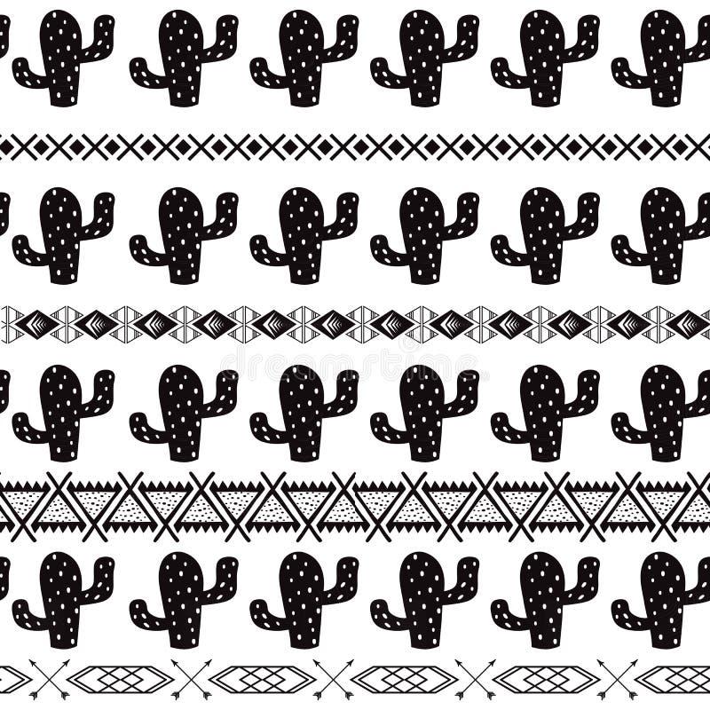 黑白无缝的仙人掌部族种族样式阿兹台克摘要背景墨西哥装饰纹理传染媒介 向量例证