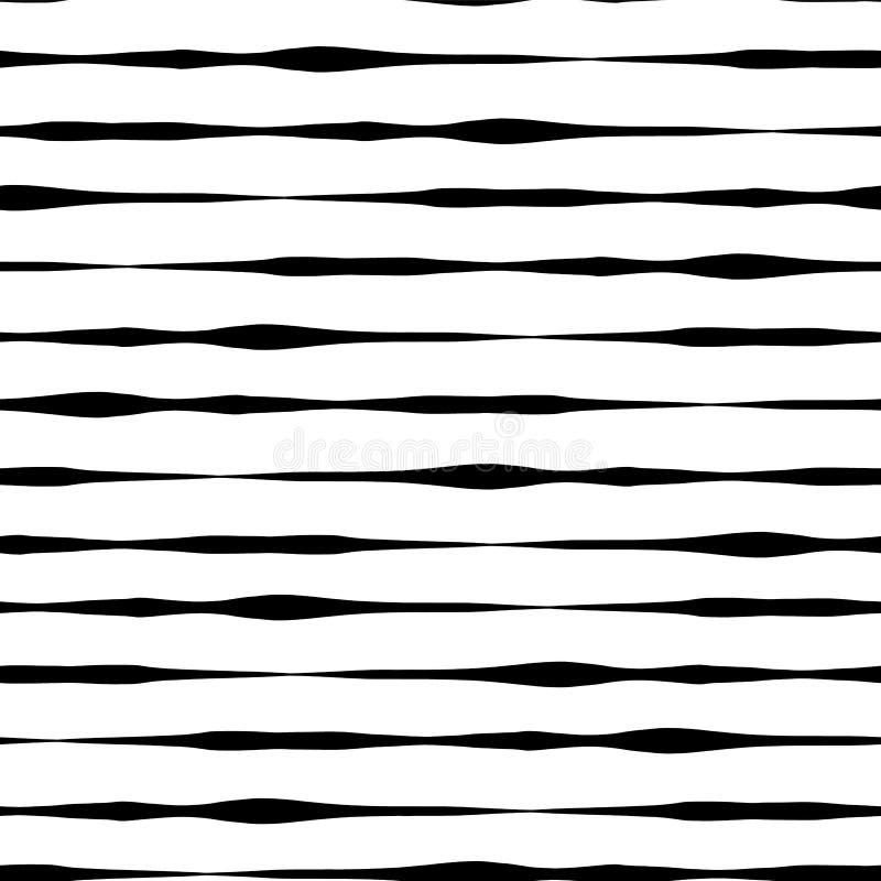 黑白无缝的传染媒介背景 在行的黑手拉的水平的冲程在白色背景 波浪乱画线 向量例证