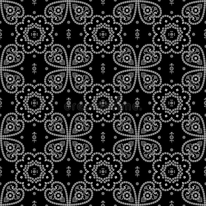 黑白无缝的传统方巾的样式 向量例证