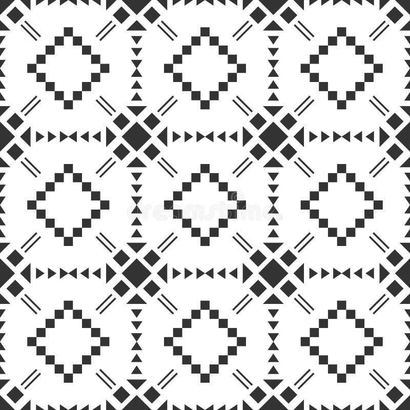 黑白无缝的样式 阿兹台克抽象几何背景 种族行家样式 向量例证