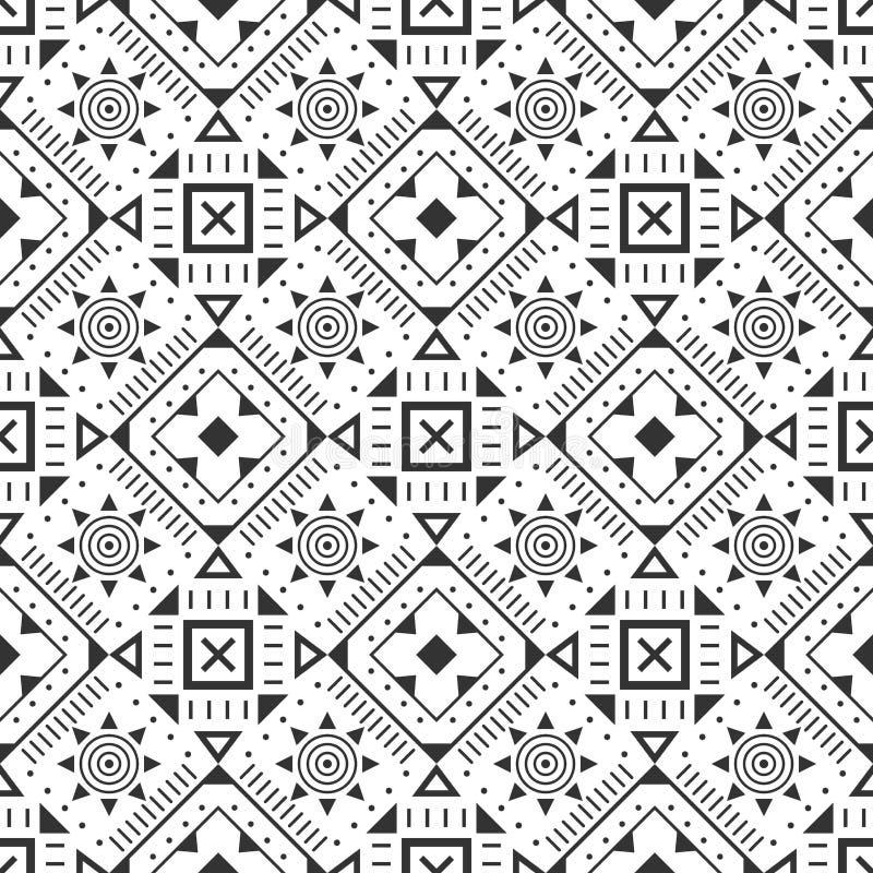黑白无缝的样式 阿兹台克抽象几何背景 种族行家样式 皇族释放例证