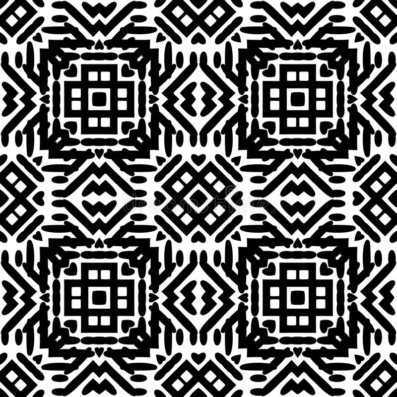 黑白无缝的种族样式 皇族释放例证