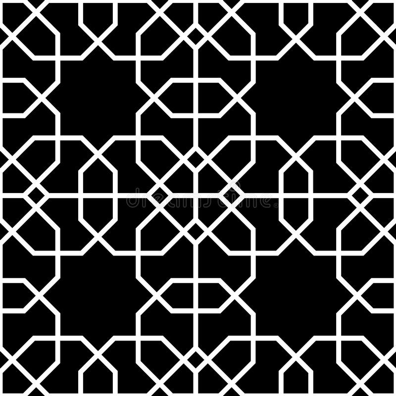 黑白无缝的背景,伊斯兰教的样式 向量例证