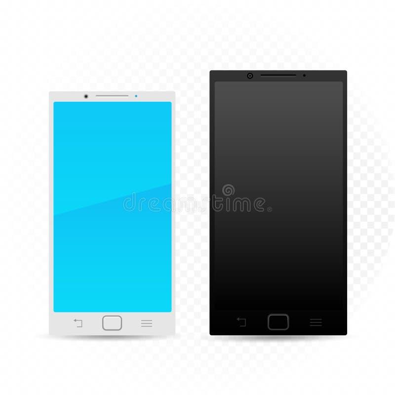 黑白智能手机模板 库存例证