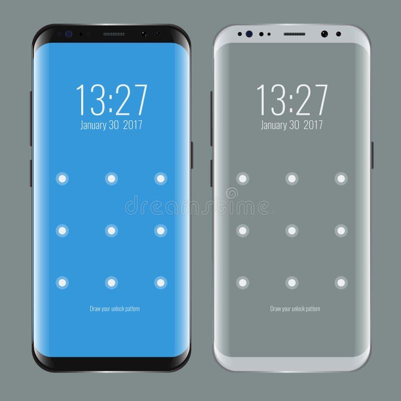 黑白智能手机 与屏幕锁的现代用户界面 皇族释放例证