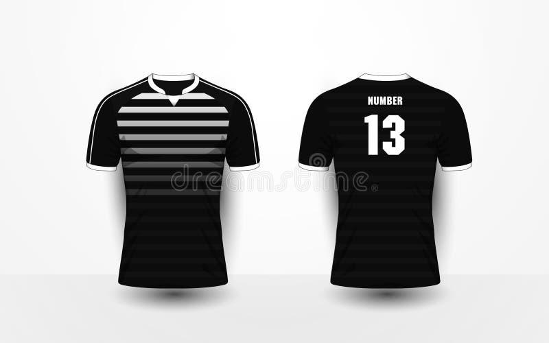 黑白条纹样式体育橄榄球成套工具,球衣, t嘘 皇族释放例证