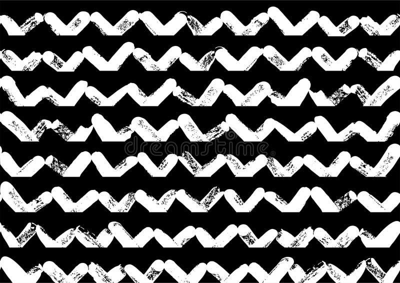 黑白样式,传染媒介绘了形状,摘要几何无缝的样式,重复刷子冲程 库存例证