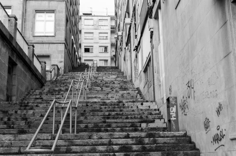 黑白楼梯 免版税图库摄影