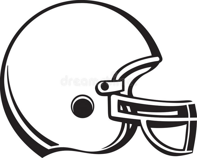 黑白橄榄球盔例证 向量例证