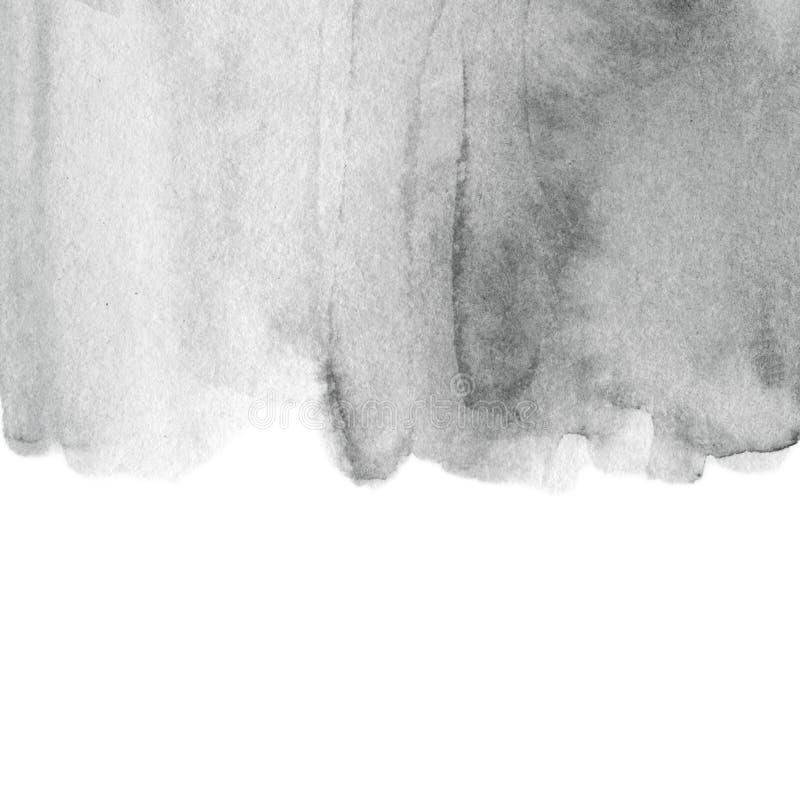 黑白水彩污点 抽象手拉的灰色水 皇族释放例证