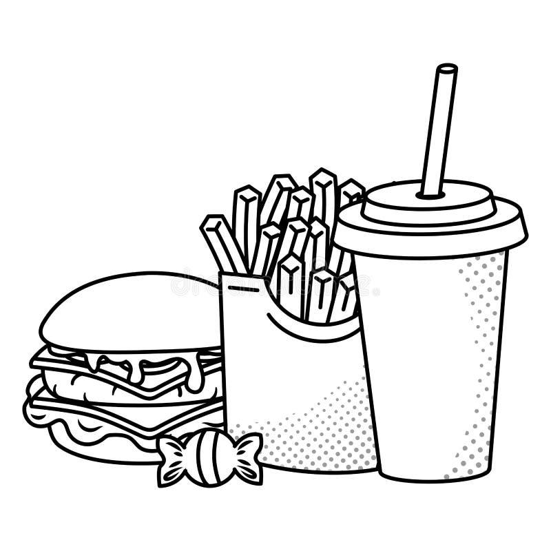 黑白汉堡包的薯条和的苏打 皇族释放例证