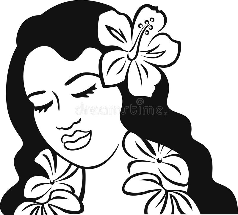 黑白波里尼西亚的女孩 免版税库存照片